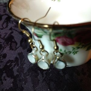 Tiny teacup earrings pair gold china hook OOAK